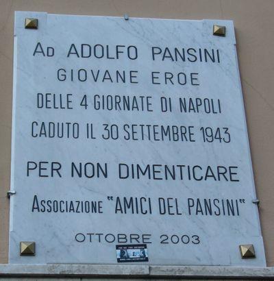 lapide commemorativa di Adolfo Pansini